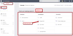 steps to setup facebook ads campaign